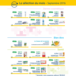 Promotions pharmacie Septembre 2016